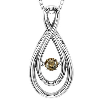 14K Brown Diamond Rhythm Of Love Pendant 1/10 ctw