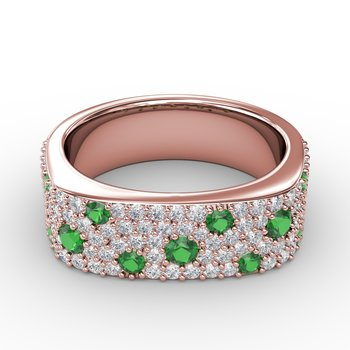 Under the Stars Emerald-Speckled Diamond Ring