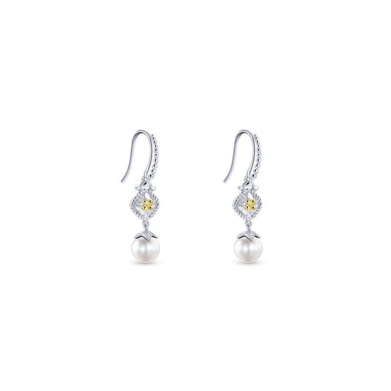 Gabriel Fashion 925 Sterling Silver & 18k Yellow Gold Vintage Inspired Cultured Pearl Drop Earrings