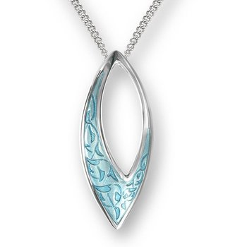 Turquoise Marquise Necklace.Sterling Silver