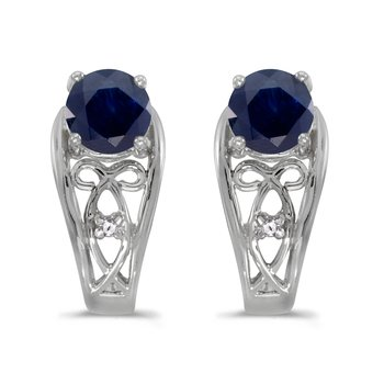 10k White Gold Round Sapphire And Diamond Earrings