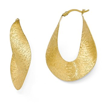 Leslie's Sterling Silver Yellow Gold-plated Textured Hoop Earrings