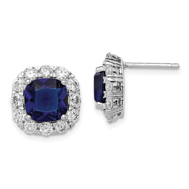 Quality Gold Sterling Silver Rhodium-plated Blue Glass and CZ Post Earrings