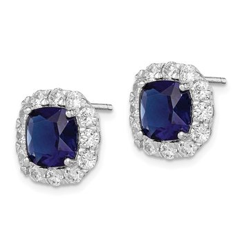 Sterling Silver Rhodium-plated Blue Glass and CZ Post Earrings