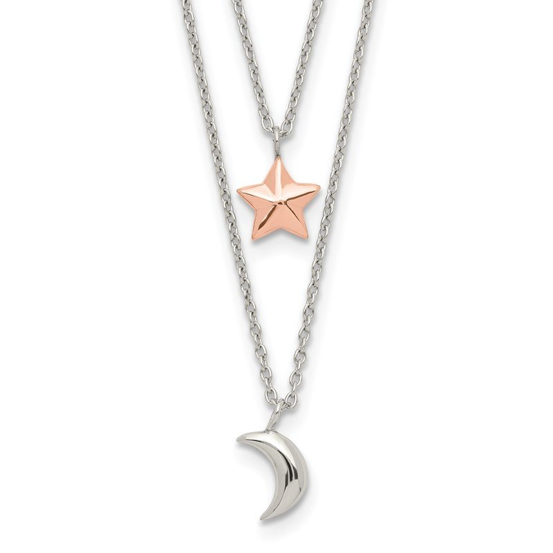 Quality Gold Sterling Silver Rose-Tone 2-strand Moon and Star w/1in ext Necklace