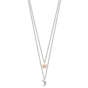 Sterling Silver Rose-Tone 2-strand Moon and Star w/1in ext Necklace