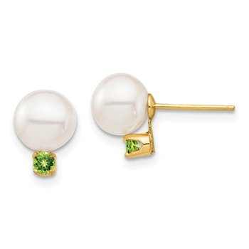 14K 7-7.5mm White Round Freshwater Cultured Pearl Peridot Post Earrings