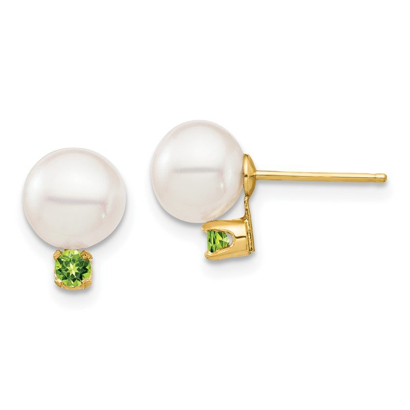 Quality Gold 14K 7-7.5mm White Round Freshwater Cultured Pearl Peridot Post Earrings