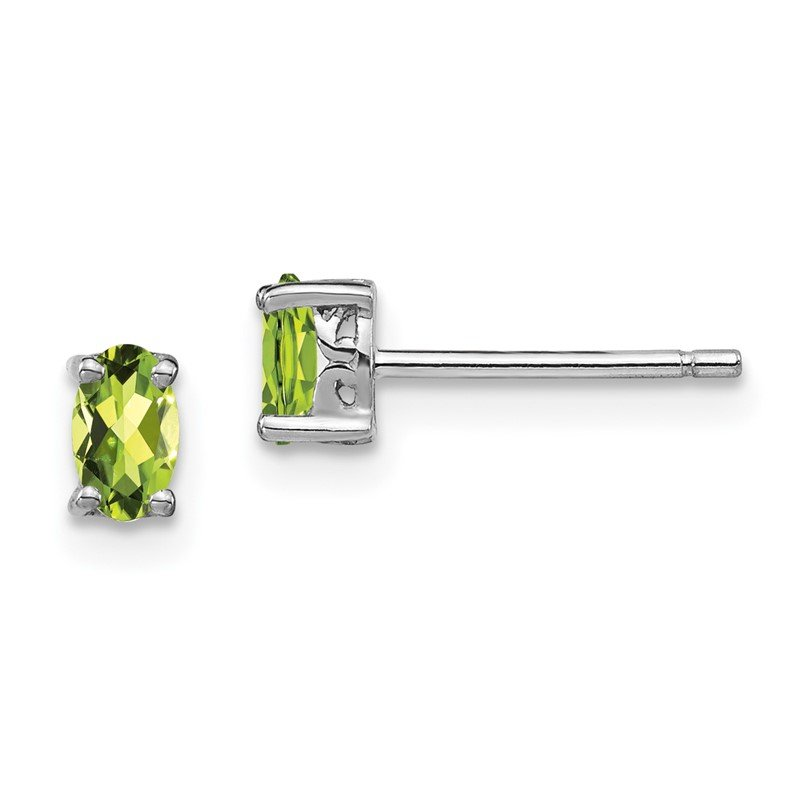Quality Gold Sterling Silver Rhodium-plated 5x3mm Oval Peridot Post Earrings