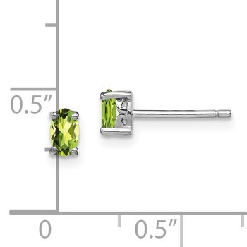 Sterling Silver Rhodium-plated 5x3mm Oval Peridot Post Earrings