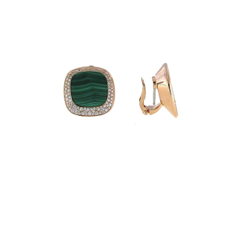 18Kt Gold Earrings With Diamonds And Malachite