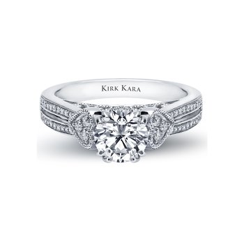 Kirk Kara 18K White Gold Diamond Heart Engagement Ring
