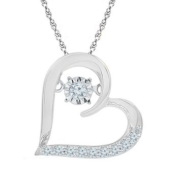 10kt White Gold Womens Moving Twinkle Round Diamond Heart Love Pendant 1/8 Cttw