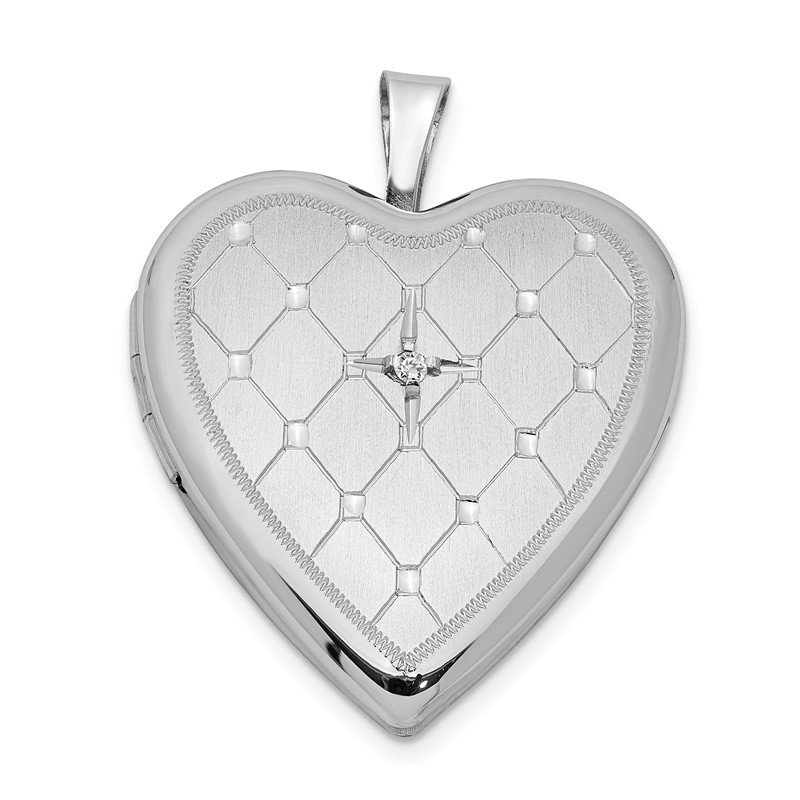 Quality Gold Sterling Silver Rhodium-plated & Dia. 20mm D/C Heart Locket