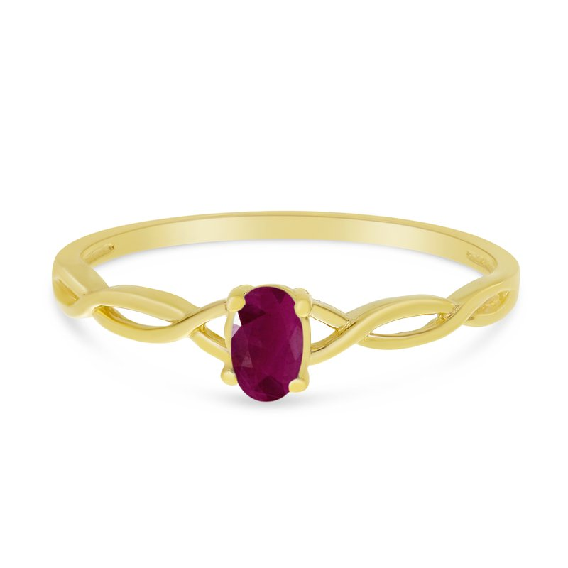 Color Merchants 10k Yellow Gold Oval Ruby Ring