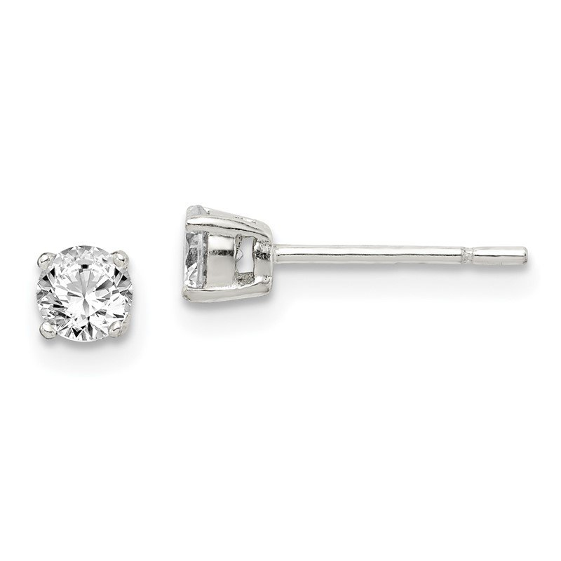 Quality Gold Sterling Silver 4mm Round CZ Post Earrings