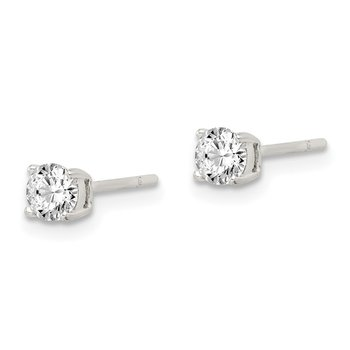 Sterling Silver 4mm Round CZ Post Earrings