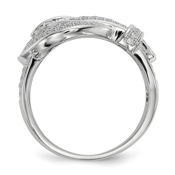 Sterling Silver & CZ Brilliant Embers Buckle Ring