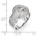 Quality Gold Sterling Silver & CZ Brilliant Embers Buckle Ring