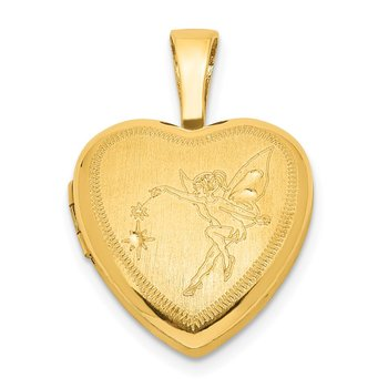 Sterling Silver Gold-plated 12mm Fairy Heart Locket