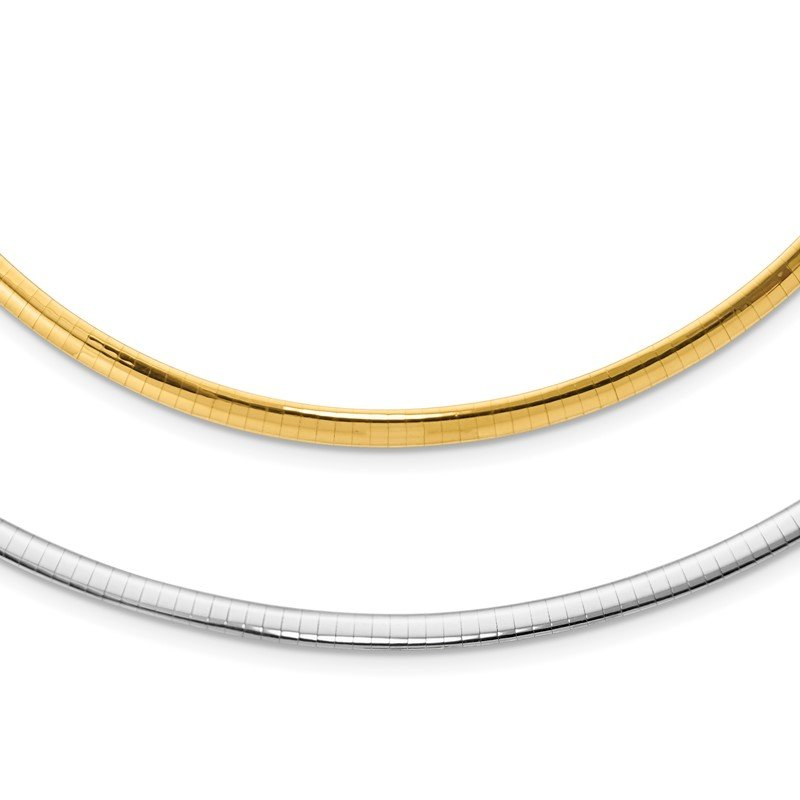 Quality Gold 14k 4mm Reversible White & Yellow Domed Omega Necklace