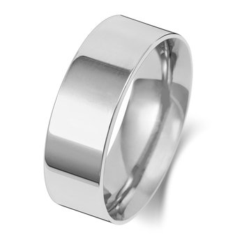9Ct White Gold 7mm Flat Court Wedding Ring