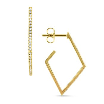 Modern Geometric Gold and Diamond Hoops