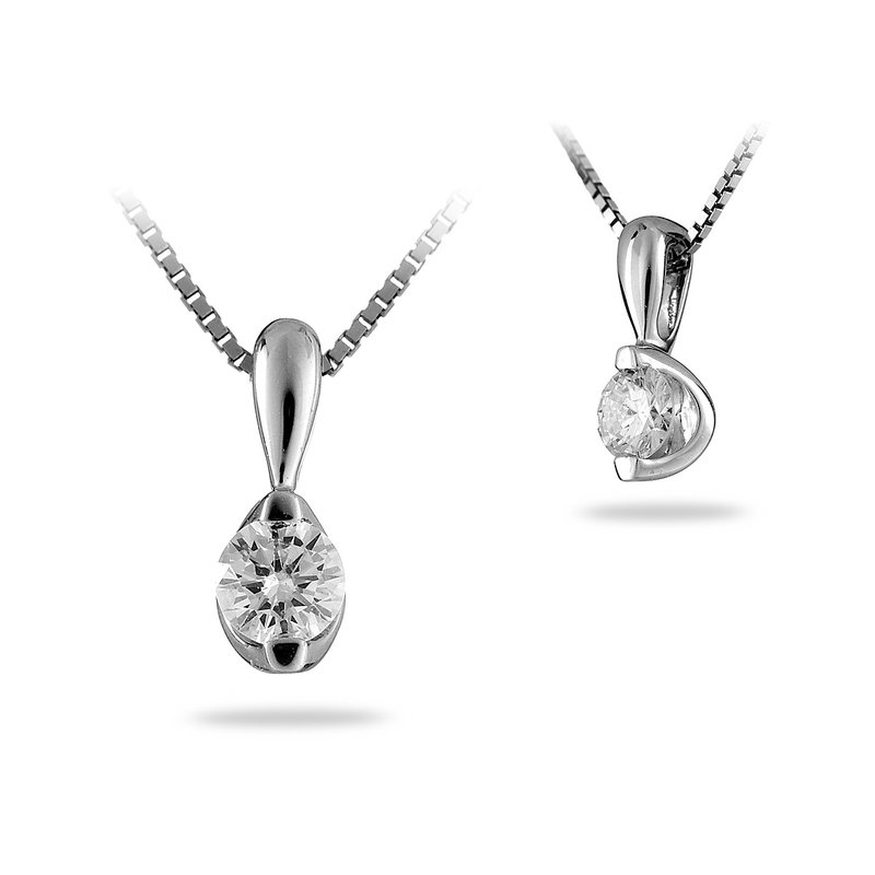 BB Impex 14K WG Diamond 'I Love You' Solitaire Pendant