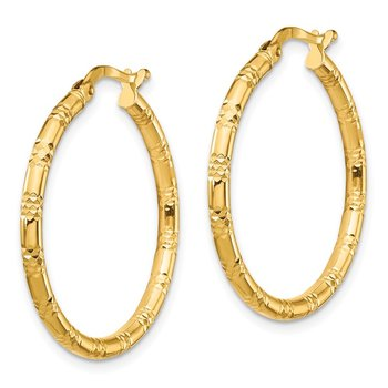 14K 2x26mm Diamond-cut Hoop Earrings