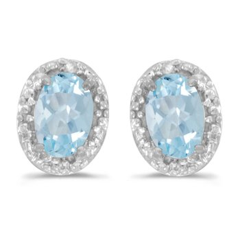 14k White Gold Oval Aquamarine And Diamond Earrings