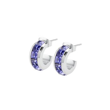 316L stainless steel and tanzanite Swarovski® Elements crystals.