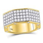 Gold-N-Diamonds, Inc. (Atlanta) 14kt Yellow Gold Mens Round Diamond Octagon Nut Band Ring 2-3/4 Cttw