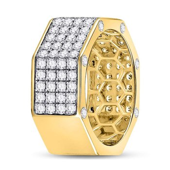 14kt Yellow Gold Mens Round Diamond Octagon Nut Band Ring 2-3/4 Cttw