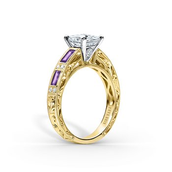 Amethyst Diamond Engagement Ring