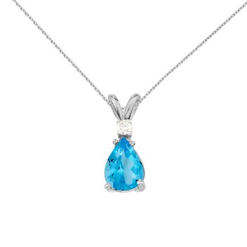 14k White Gold Pear Shaped Blue Topaz and Diamond Pendant