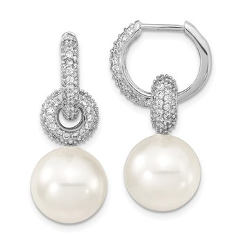 Sterling S Majestik Rh-pl 12-13mm Wht Imitat Shell Pearl & CZ Hoop Earrings