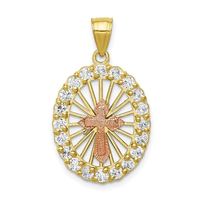 Quality Gold 10k Two-tone CZ Cross Pendant
