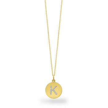 "Diamond Disc Initial ""K"" Necklace in 14k Yellow Gold with 15 Diamonds weighing .07ct tw."