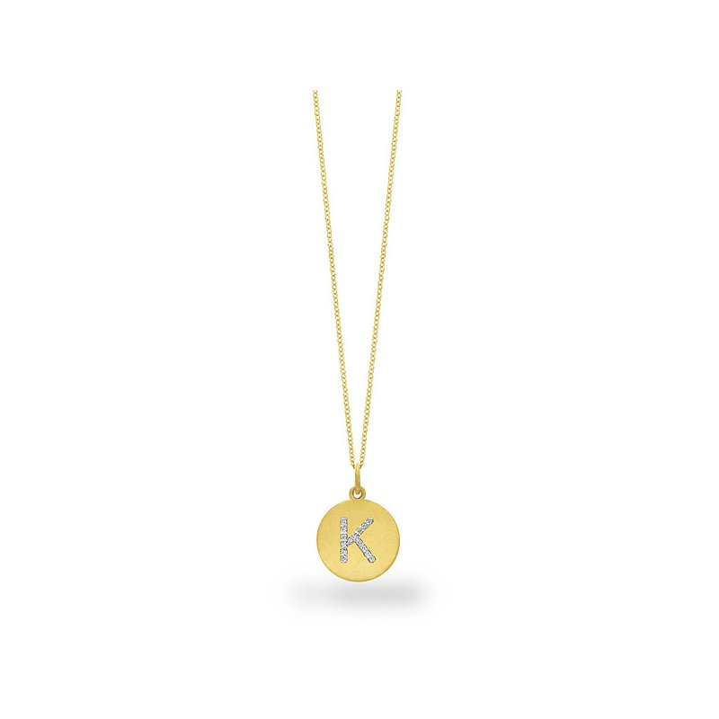 "KC Designs Diamond Disc Initial ""K"" Necklace in 14k Yellow Gold with 15 Diamonds weighing .07ct tw."