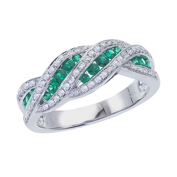 14k White Gold Emerald and .27 ct Diamond Fashion Ring