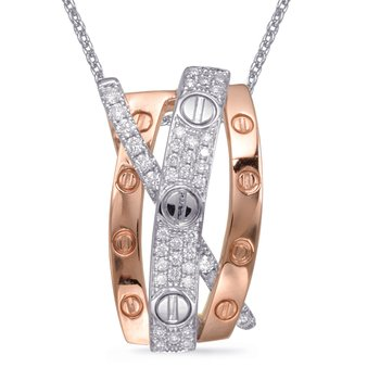 Rose & White Gold Diamond Pendant