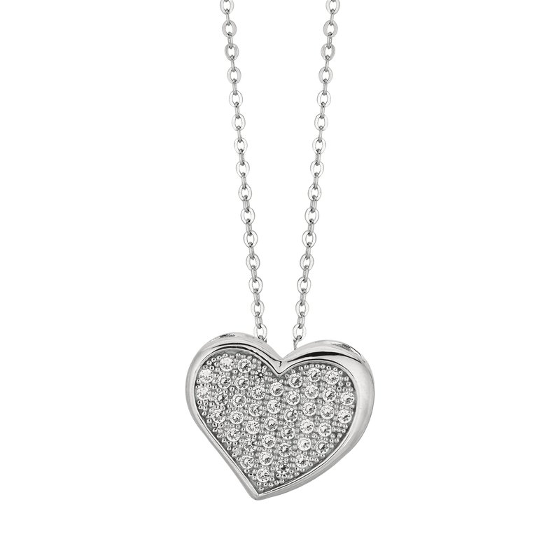 Royal Chain Silver CZ Pave Heart Necklace