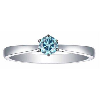 Smiling Rocks 0.26Ct Lab Grown Blue Color Diamond 6-Prong Solitaire Ring