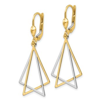 14k Two-tone Leverback Drop Earrings