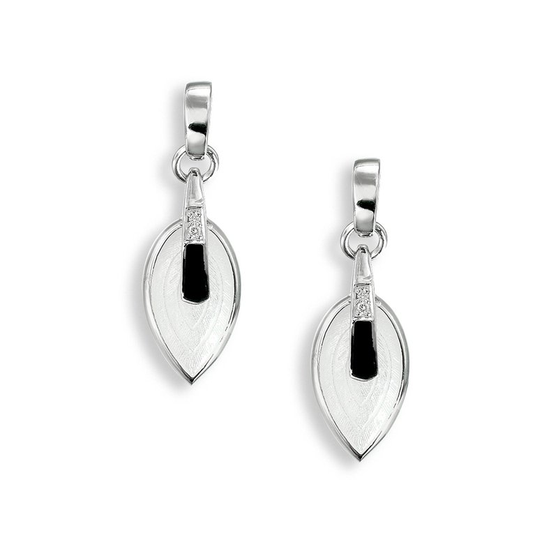 Nicole Barr Designs Black and White Marquise Stud Earrings.Sterling Silver-White Sapphires