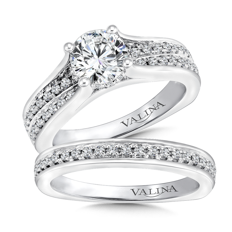 Valina Bridals Mounting with side stones .36 ct. tw., 1 ct. round center.