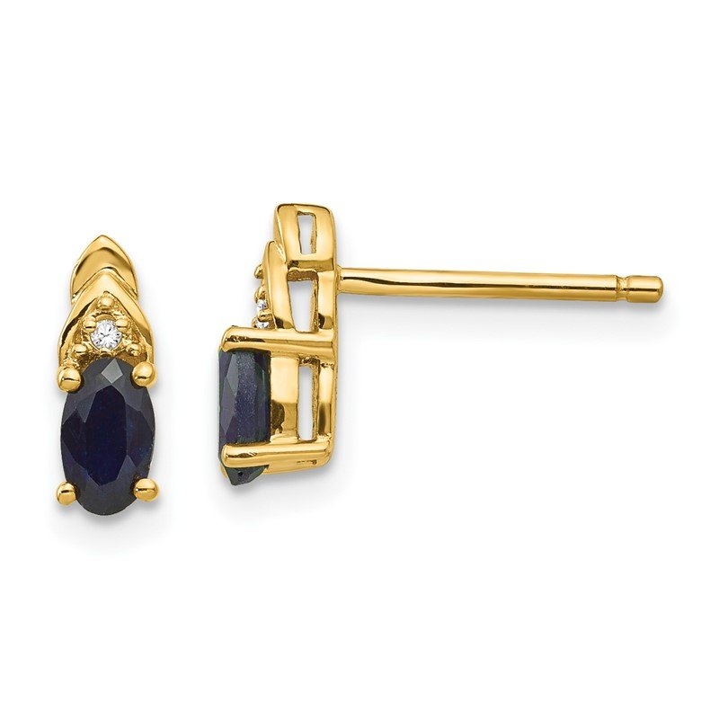 Quality Gold 14k Sapphire and Diamond Earrings