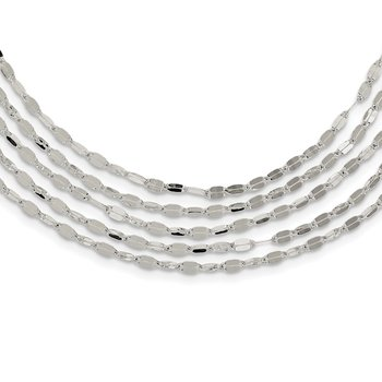 Sterling Silver 5 Strand Fancy Flat Link Necklace