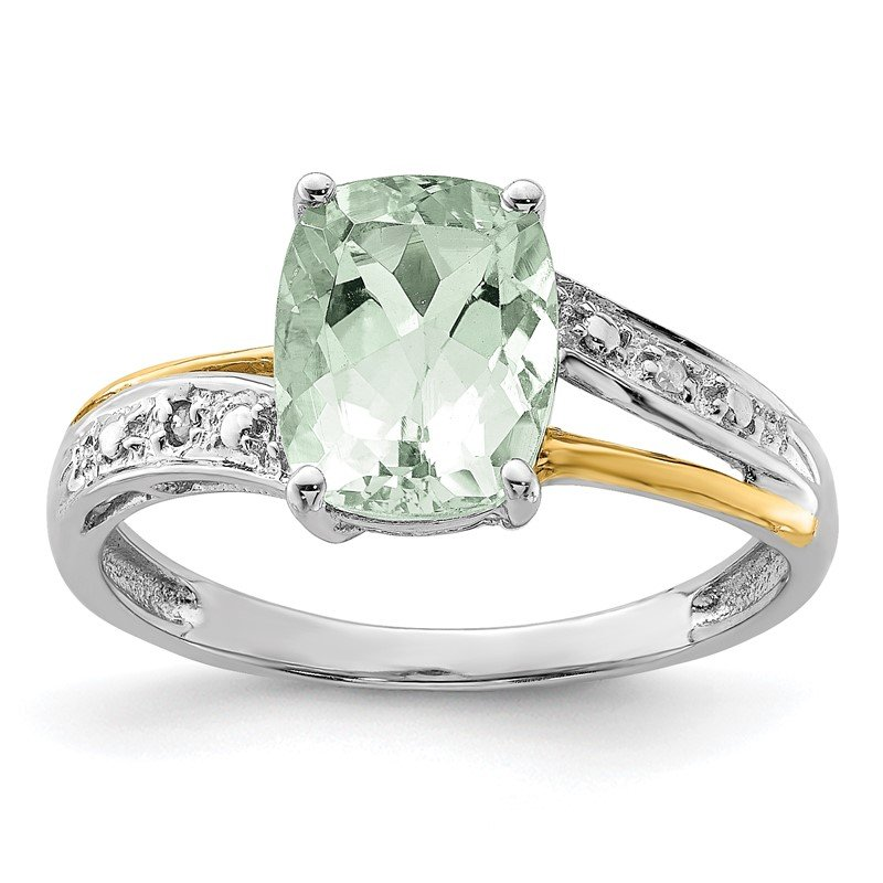 Quality Gold SS & 14k True Two-tone Green Quartz and Diamond Ring