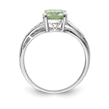 SS & 14k True Two-tone Green Quartz and Diamond Ring